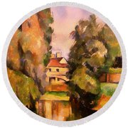 Country House By A River Round Beach Towel