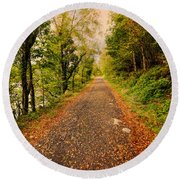 Country Lane Round Beach Towel by Adrian Evans
