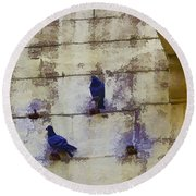 Couple Of Pigeons On A Wall Round Beach Towel