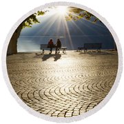 Couple On A Bench Round Beach Towel
