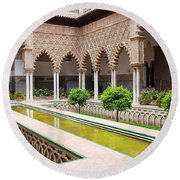 Courtyard Of The Maidens In Alcazar Palace Of Seville Round Beach Towel