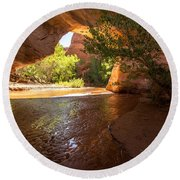Coyote Natural Bridge - Coyote Gulch - Utah Round Beach Towel by Gary Whitton
