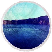 Crater Lake As A Painting Round Beach Towel