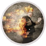Crazy Businessman Running Engulfed In Fire. Late Round Beach Towel