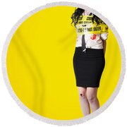 Creepy Homicide Girl Standing Undead On Yellow Round Beach Towel