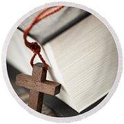 Cross And Bible Round Beach Towel