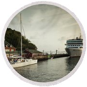 Cruise Ship At Port, Kingstown, Saint Round Beach Towel