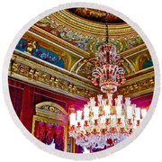 Crystal Chandelier In Dolmabache Palace In Istanbul-turkey  Round Beach Towel
