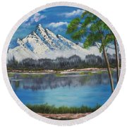 Crystal Mountain Round Beach Towel