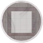 Crystal White And Gray Dots Design Pattern Shade Deco Decoration Round Beach Towel