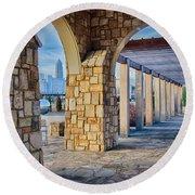Cultured Stone Terrace Trellis Details Near Park In A City  Round Beach Towel
