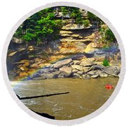 Cumberland Falls Rainbow Round Beach Towel by Frozen in Time Fine Art Photography