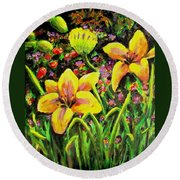 Cups Of Gold Round Beach Towel
