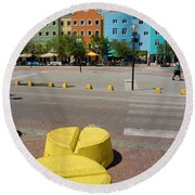 Curacaos Colorful Architecture Round Beach Towel