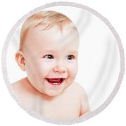 Cute Happy Baby Laughing On White Round Beach Towel
