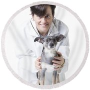 Cute Little Dog At The Vet Round Beach Towel by Edward Fielding