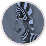 Cyan Zebra Round Beach Towel