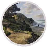 Cypress Path Impasto Round Beach Towel