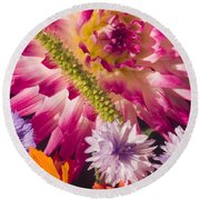 Dahlia Zinnia Bachelor's Buttons Flowers Round Beach Towel