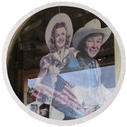 Dale Evans Roy Rogers Cardboard Cut-outs Flag Reflection Helldorado Days Tombstone 2004 Round Beach Towel