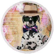 Dalmatian Bowtie Collection Round Beach Towel