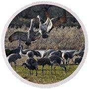 Dance Of The Cranes Round Beach Towel