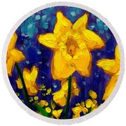 Dancing Daffodils Cropped  Round Beach Towel