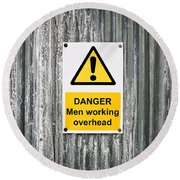 Danger Sign Round Beach Towel