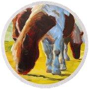 Dartmoor Ponies Painting Round Beach Towel