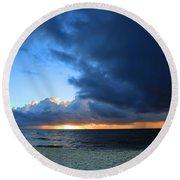 Dawn Over The Ocean Round Beach Towel