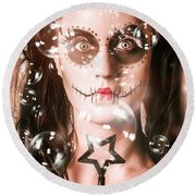 Day Of The Dead Girl Blowing Party Bubbles Round Beach Towel