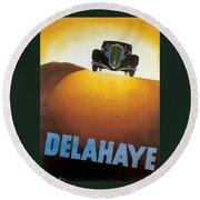 Delahaye Cars - Vintage Poster Round Beach Towel