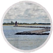 Delaware Breakwater East End Lighthouse Round Beach Towel