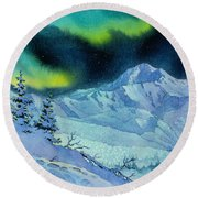 Denali Night Round Beach Towel