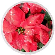 Diamond Encrusted Poinsettias Round Beach Towel