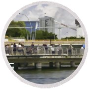 Digital Oil Painting - Visitors On Viewing Plaza On Singapore River Next To The Merlion Round Beach Towel