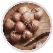 Digital Painting Of Brown Onions On Kitchen Table Round Beach Towel