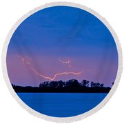 Distant Lightning Round Beach Towel