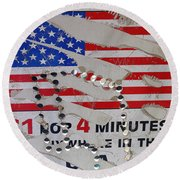 1 Dollar For Four Minutes Sign Telephone American Flag Eloy Arizona 2005 Round Beach Towel
