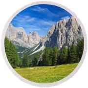 Dolomites - Catinaccio Mount Round Beach Towel