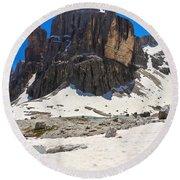 Dolomites - Pisciadu Peak Round Beach Towel