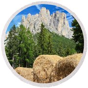 Dolomiti - Alpine Pasture Round Beach Towel