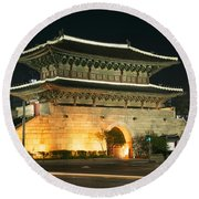 Dongdaemun Gate Landmark In Seoul South Korea Round Beach Towel