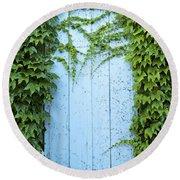 Door Framed By Plants Round Beach Towel