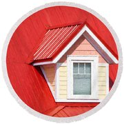 Dormer Window On Red Roof Round Beach Towel