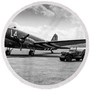 Douglas C-47a Skytrain Ready For D-day Round Beach Towel