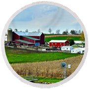 Down On The Farm Round Beach Towel by Frozen in Time Fine Art Photography