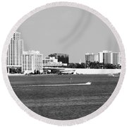 Downtown Clearwater Skyline Round Beach Towel