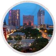 Downtown San Antonio Texas Skyline Round Beach Towel