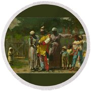 Dressing For The Carnival Round Beach Towel by Winslow Homer